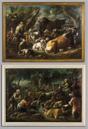 Jakob Rosa (1682-1730) Scene Pastorali In Un