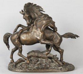 Cavalli, Scultura In Bronzo A Patina Scura F.ta