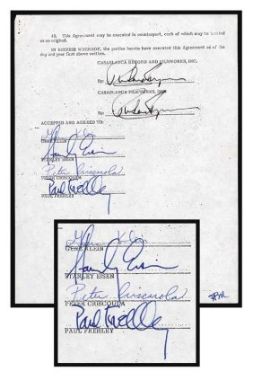 KISS Rare Signed Document W/ Legal Names