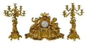 (3)monumental Bronze Dore Raingo Freres Clock Set