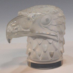 LALIQUE FRANCE FROSTED GLASS EAGLE SCULPTURE