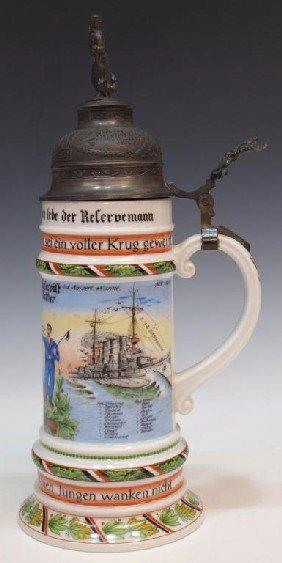 GERMAN REGIMENTAL LITHOPHANE BEER STEIN