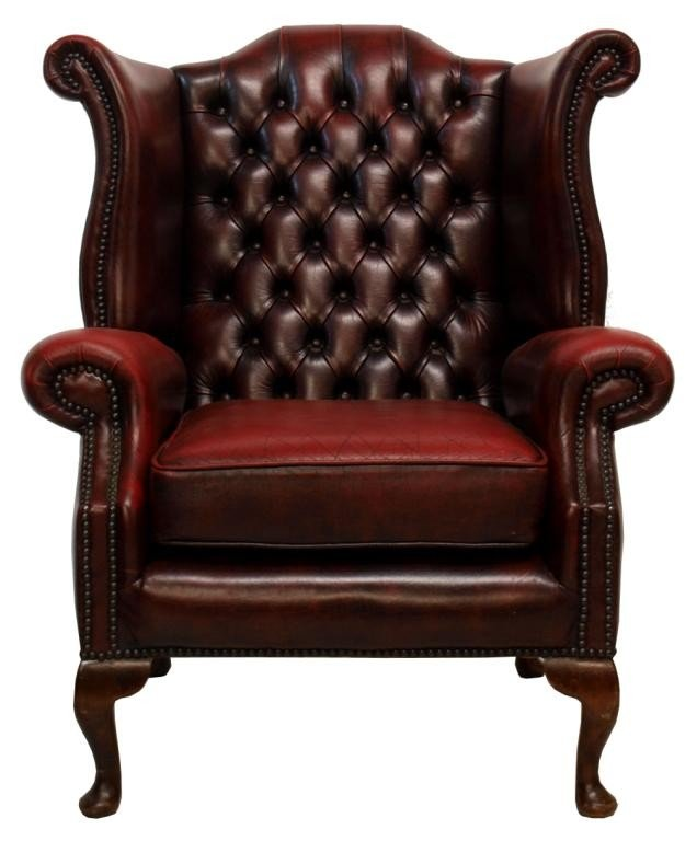 171 ENGLISH QUEEN ANNE STYLE LEATHER WINGBACK CHAIR Lot 171