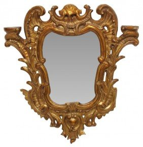 LATE 18TH C. SPAIN CARVED GILTWOOD FRAMED MIRROR
