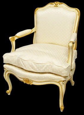 KARGES LOUIS XV STYLE PARCEL GILT ARM CHAIR