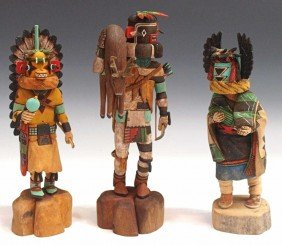 (3) HOPI INDIAN KACHINA DOLLS, ALL MAKER SIGNED