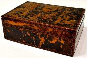 19TH C. ENGLISH TORTOISE SHELL WORK BOX