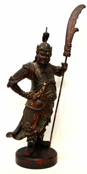 LARGE ANTIQUE CHINESE GILT LACQUER GUAN YU FIGURE
