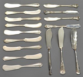 ASSORTED COLLECTION STERLING SILVER BUTTER KNIVES