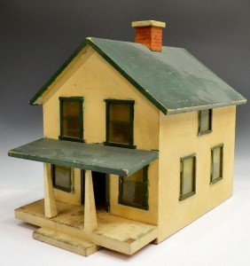 AMERICAN FOLK ART PAINTED TWO STORY HOUSE MODEL