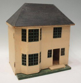 AMERICAN PAINTED FOLK ART DOLL HOUSE, C. 1930