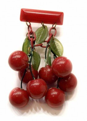 VINTAGE BAKELITE CHERRIES SWAG BAR PIN