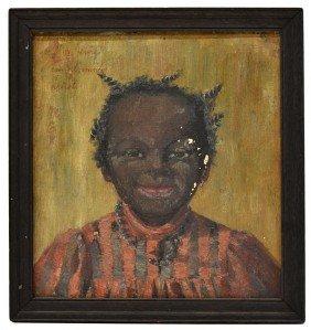 RARE BLACK AMERICANA FOLK ART PAINTING OF A CHILD