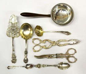 STERLING SILVER ITEMS & EXOTIC WOOD TEA STRAINER