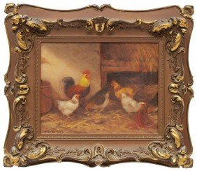 PAINTING: ROOSTER & CHICKENS, J.D. SORVER, 1904