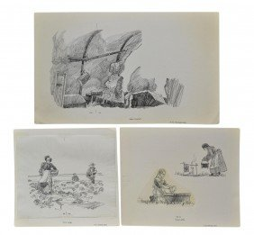 (3) PENCIL DRAWINGS CHARLES SHAW, 1941-2005