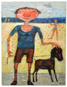 OIL PAINTING, BOY & DOG AT BEACH, ZAZA KHABULIANI