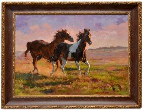 (2) OIL PAINTINGS, HORSES, KAREN BONNIE