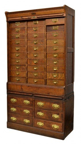 GLOBE THIRTY DRAWER ROLL FRONT FILE CABINET