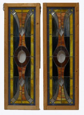PAIR TALL AMERICAN LEADED & STAINED GLASS WINDOWS