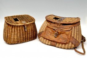 (2) ANTIQUE WICKER & LEATHER FISHING BASKETS