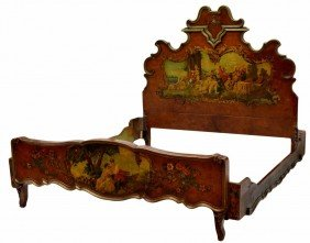 ITALIAN LOUIS XV STYLE FIGURAL PAINTED BED, QUEEN