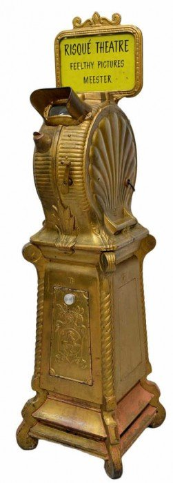 ANTIQUE CLAMSHELL MUTOSCOPE RISQUE PEEP SHOW