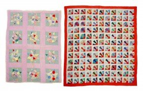 (2) EIGHT PONTED STAR & FAN HAND SEWN QUILTS