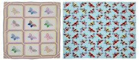 (2) HAND AND MACHINE SEWN BUTTERFLY QUILTS