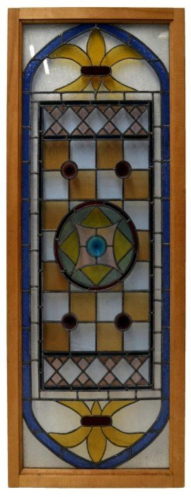 LARGE FRAMED LEADED & STAINED GLASS WINDOW