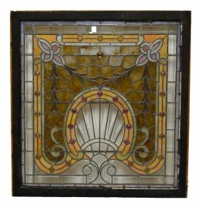 ORNATE & LARGE LEADED & STAINED GLASS WINDOW