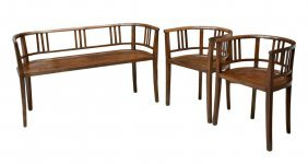 (3) FRENCH COLONIAL ART DECO SETTEE & (2) CHAIRS