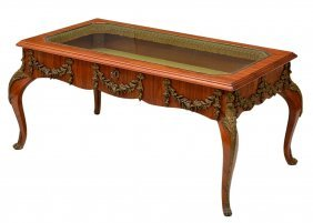 LOUIS XV STYLE BRONZE MOUNTED DISPLAY TABLE