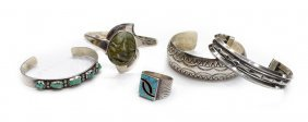 (5) GROUP SOUTHWEST SILVER & TURQUOISE JEWELRY