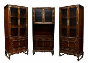 (3) KOREAN BOOKCASE DISPLAY CABINETS,