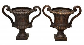 (PAIR) NEO-CLASSICAL SCROLLED ARM BRONZE URNS