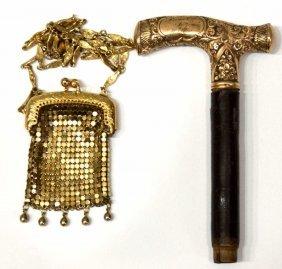 ANTIQUE ENGRAVED GOLD CANE TOP & MESH COIN PURSE