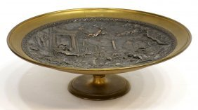 ANTIQUE PATINATED BRONZE FIGURAL RELIEF CARD TRAY