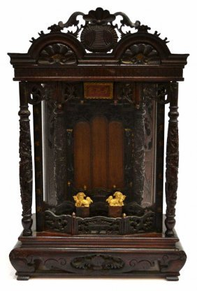 CHINESE CARVED WOOD DRAGON TABLE ALTAR
