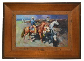 WESTERN PAINTING, COWBOYS & CATTLE