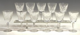 (11)WATERFORD CUT CRYSTAL 'LISMORE' CLARET GOBLETS