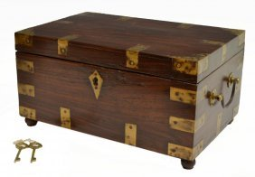 BRITISH COLONIAL BRASS BOUND FITTED TRAVEL BOX