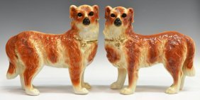 (2) VICTORIAN STAFFORDSHIRE STANDING DOG FIGURES