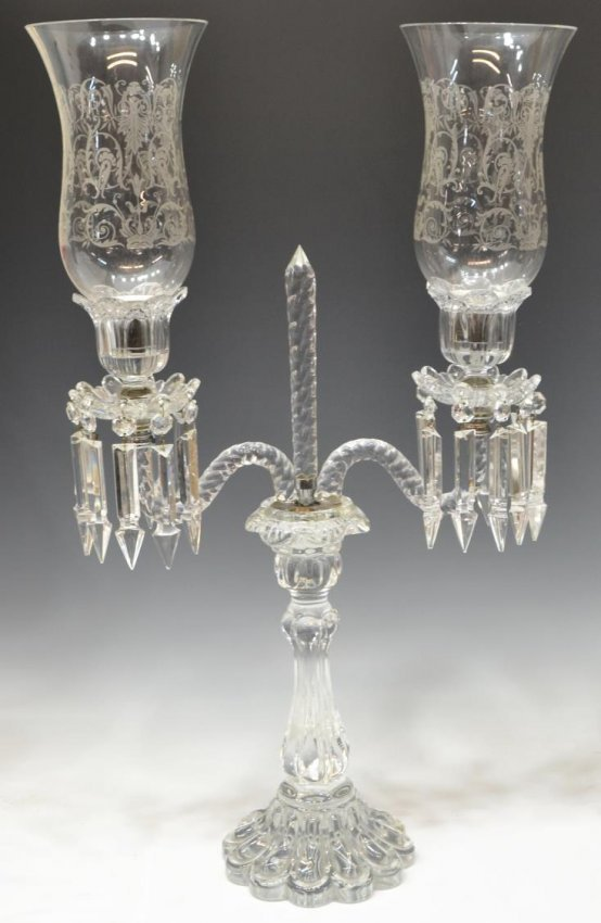 pair fine cristal de sevres france candelabra lot 370. Black Bedroom Furniture Sets. Home Design Ideas