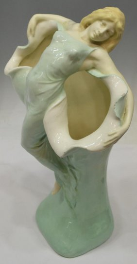 LARGE ART NOUVEAU FIGURAL CERAMIC VASE