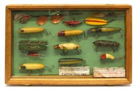 (15) Vintage Fishing Lures & Oak Display Case