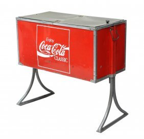 Vintage Coca Cola Ice Cooler On Stand