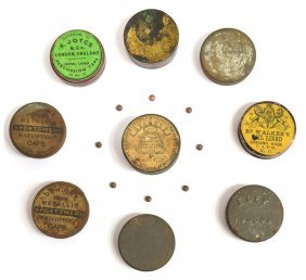 (9) Vintage & Antique Percussion Cap Tins, English