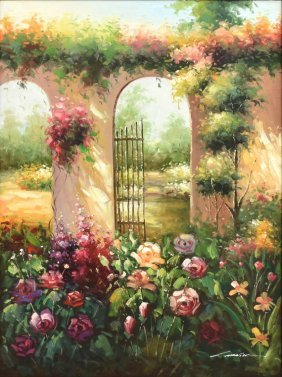 Framed Oil Painting, Flowers In Courtyard