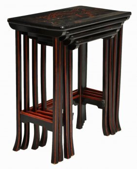 (4) Nest Of Chinese Figural Decorated Tables